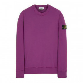 STONE ISLAND BRUSHED COTTON SWEATER IN VIOLET