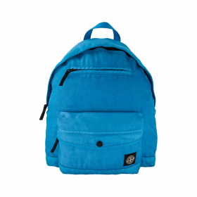STONE ISLAND LOGO PATCH BACKPACK IN BRIGHT BLUE