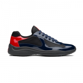 PRADA AMERICAS RUBBER SOLE TRAINERS IN NAVY BLUE AND RED