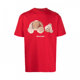 PALM ANGELS TEDDY PRINT T-SHIRT IN RED