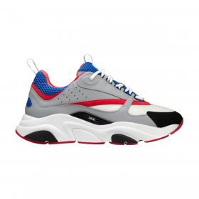 DIOR B22 TECHNICAL MESH AND CALF SKIN TRAINER IN GREY/RED/BLUE