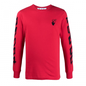OFF-WHITE SPRAY MARKER LONG SLEEVE T-SHIRT IN RED