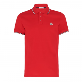 MONCLER SHORT SLEEVE POLO IN RED