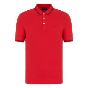 EMPORIO ARMANI SHORT SLEEVE POLO IN RED