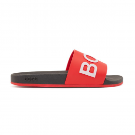 BOSS SLIDES WITH MONOGRAM EMBOSSED OUTSOLE IN RED
