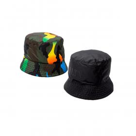 VALENTINO REVERSIBLE CAMO BUCKET HAT IN GREEN