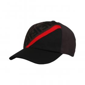 FENDI FF STRIPE BASEBALL CAP IN BLACK/BROWN