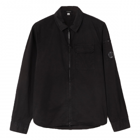 CP COMPANY GABARDINE GARMENT DYED LENS UTILITY SHIRT IN BLACK