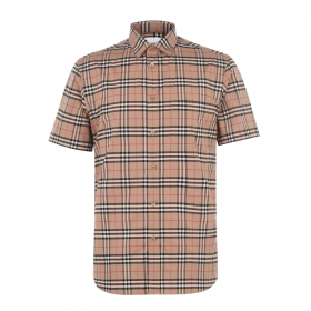 BURBERRY SMALL CHECK SLIM FIT SHIRT IN ARCHIVE BEIGE
