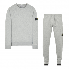STONE ISLAND BRUSHED COTTON CREW NECK TRACKSUIT IN GREY