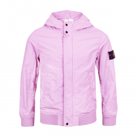 STONE ISLAND JUNIOR LOGO PATCH HOODED JACKET IN ROSE