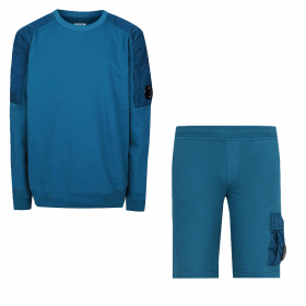 CP COMPANY JUNIOR NYLON PATTERNED SHORT AND SWEAT SET IN BLUE