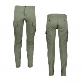 CP COMPANY STRETCH SATIN CARGO PANT IN OLIVE GREEN