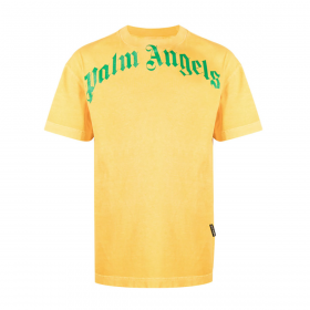 PALM ANGELS LOGO-PRINT CREW-NECK T-SHIRTS IN YELLOW