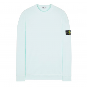 STONE ISLAND BRUSHED COTTON SWEATER IN TURQUISE