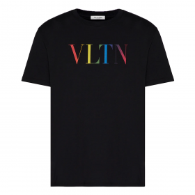 VALENTINO WITH VLTN MULTICOLOR PRINT T-SHIRT IN BLACK