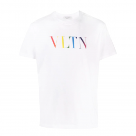VALENTINO WITH VLTN MULTICOLOR PRINT T-SHIRT IN WHITE