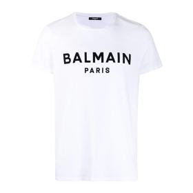 BALMAIN BLACK VELVET T-SHIRT IN WHITE
