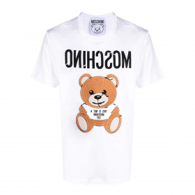 MOSCHINO EMBROIDERED TEDDY T-SHIRT IN WHITE