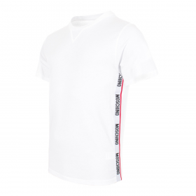 MOSCHINO SIDE TAPE T-SHIRT IN WHITE