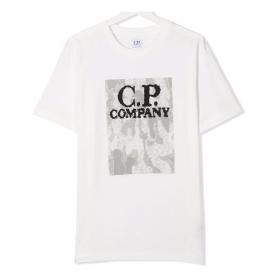 CP COMPANY JUNIOR CAMO PATTERN T-SHIRT IN WHITE