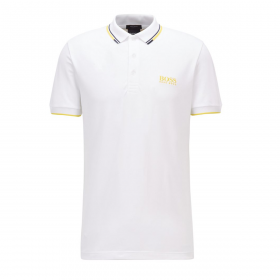 BOSS PADDY PRO POLO IN WHITE WITH YELLOW TRIM
