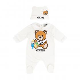 MOSCHINO BABY BABYGROW AND HAT SET IN WHITE