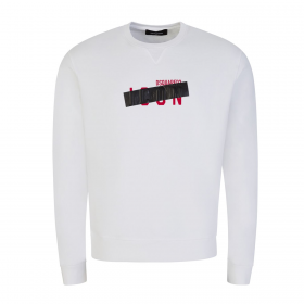 DSQUARED2 ICON TAPED SWEATER IN WHITE