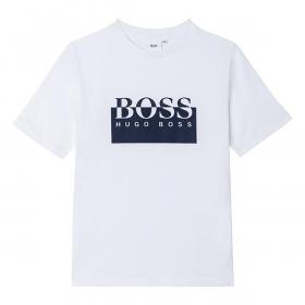 BOSS JUNIOR BIG LOGO T-SHIRT IN WHITE