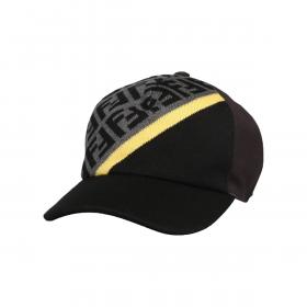 FENDI FF STRIPE BASEBALL CAP IN BLACK