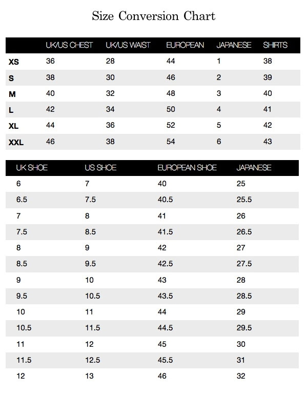 Iconic Designer Menswear Size Chart